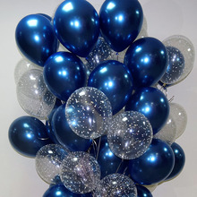 15pcs 12inch Luminous Blue Latex Balloons with Gold Metallic Chrome Late Balloons for Wedding Decorations Birthday Party Globos cheap kuchang Oval Wedding Engagement Grand Event Valentine s Day Ballon