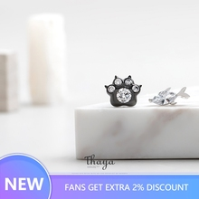 Thaya Asymmetric Fish and Bears Paw Earrings Korea Style 925 Silver Gemstone Jewelry for Women Fashion Gift