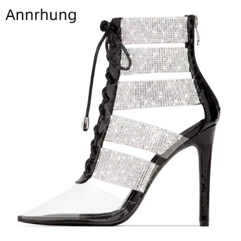 Drill Rhinestone Cut Outs High Shoes Woman Sexy Pointed Toe Transparent PVC Cross-tied Thin Heels Runway Pumps Women
