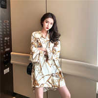 2019 Women Fashion Elegant plus size Shirt Female Tops Floral & Chains Print Casual oversize Blouse