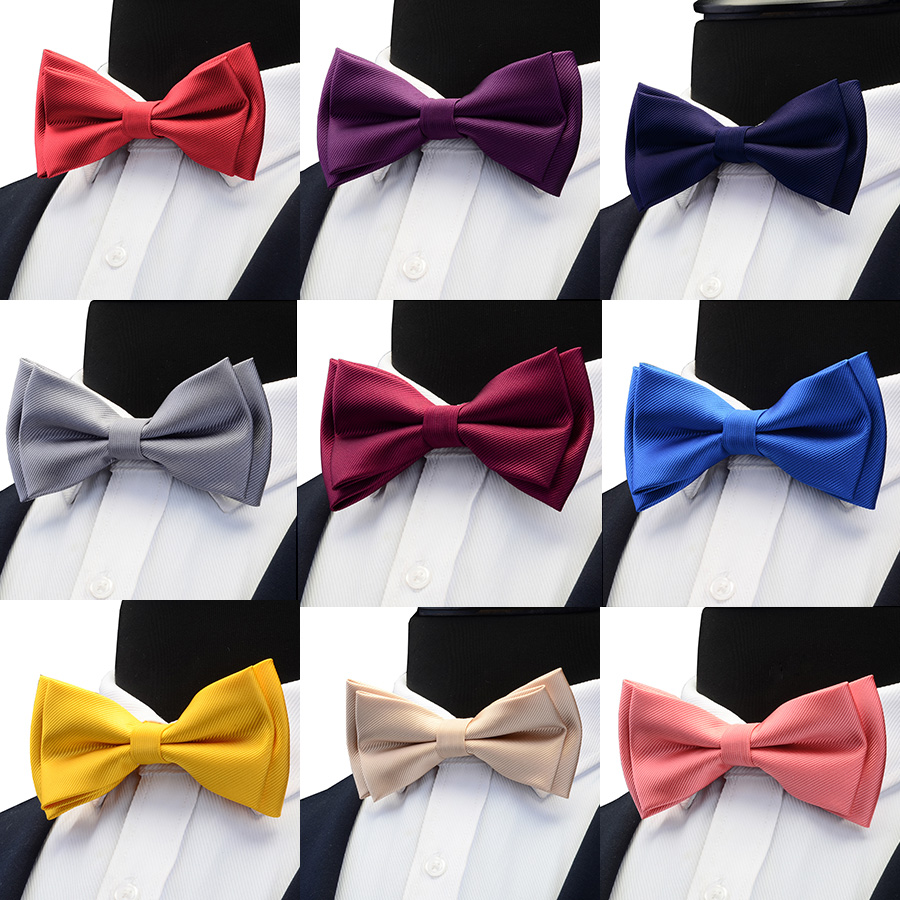 GUSLESON Mens Solid Color Two Layer Pre-tied Bow Tie Red Black Purple Gold Blue Yellow Green Bowtie For Wedding Party Business