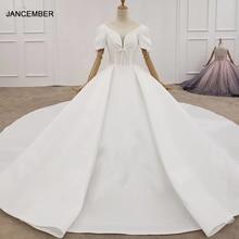 HTL1372 derin V düğün elbisesi yarım kollu lüks düğün elbisesi ön ve manşet yay gelinlikler küresel trouwjurken