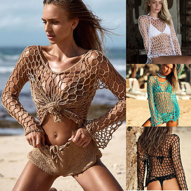 Sexy Mesh Crochet Fishnet Beach Tunic - Bikini Cover Up  1
