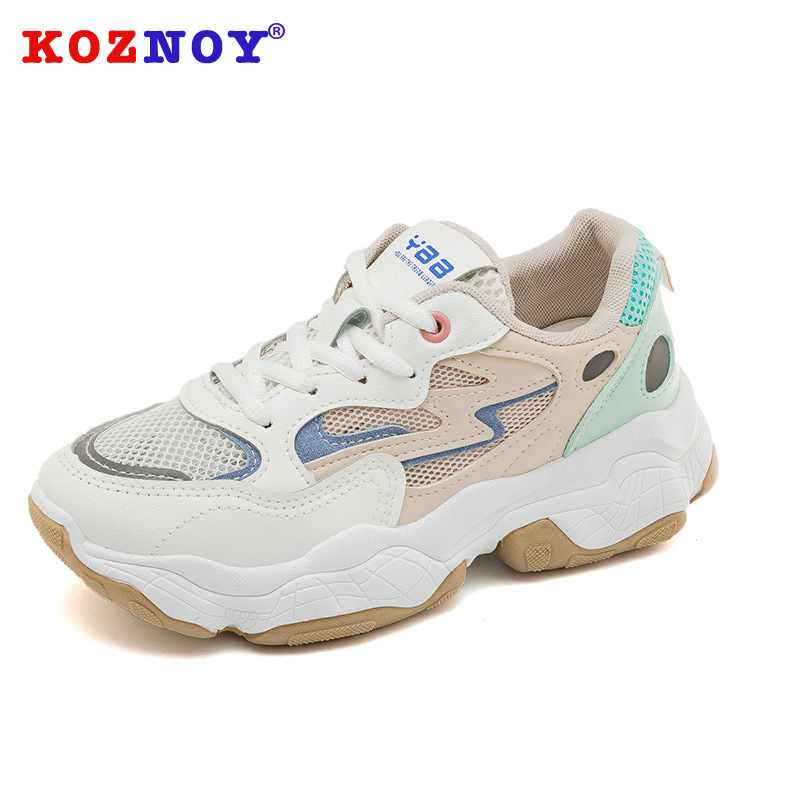 Koznoy Sneakers Women Spring Increase Dropshipping Fashion Thick Bottom Breathable Sewing Mesh Balance Leisure Women Shoes in Women 39 s Vulcanize Shoes from Shoes