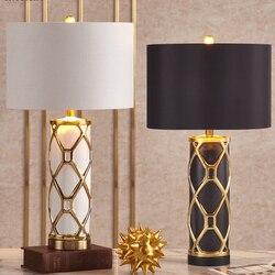 Luksusowe ceramiczne lampy LED lampa stołowa tkaniny lampy stołowe cień do sypialni lampki nocne Hotel salon dekoracja biurka domu