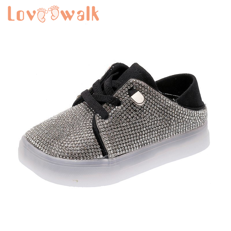 Rhinestone Children Baby Girls Boys Bling Sequins Crystal Run Sport Sneakers Shoes Breathable Soft Causal Leather Children Shoes