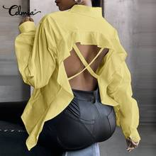 Celmia Sexy Backless Blouses 2021 Spring Women Fashion Long Sleeve Lapel Solid Buttons Elegant Shirts Hollow Casual Ruffles Tops