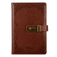 Braun Tagebuch mit Schloss Notebook A5 Vintage Abschließbare Papier PU Leder Hinweis Buch Reisenden Journal Wöchentlich Planer Schule Schreibwaren