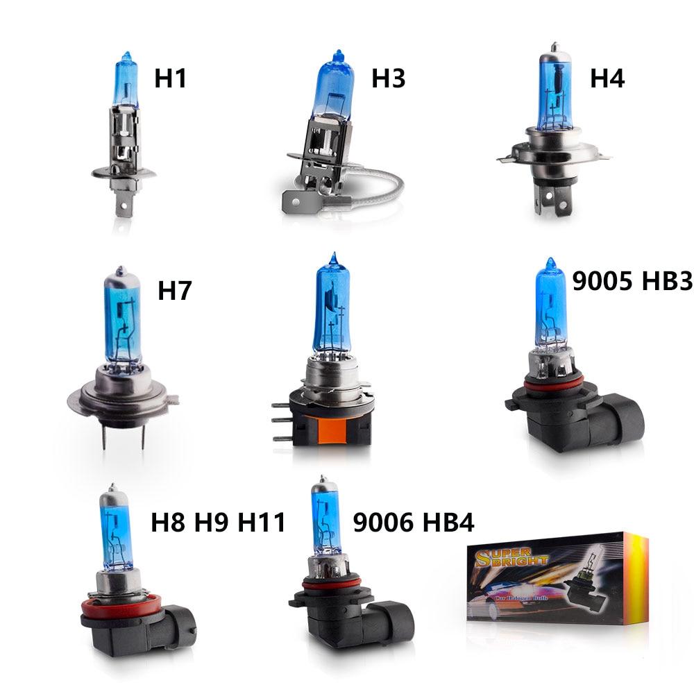 Галогенные лампы для автомобильных фар, 12 В, H1, H3, H4, H7, H8, H9, H11, HB3, HB4, 6000K, 6500K, 8000K