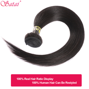 Image 3 - Satai Straight Hair 3 Bundles With Closure 100% Human Hair Bundles With Closure Brazilian Hair Bundles With Lace Closure NonRemy