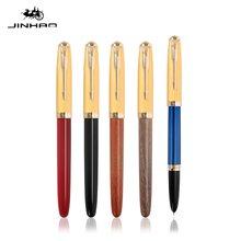 Jinhao 85 reto pro caneta fonte de madeira/material cobre ouro seta clipe extra fino nib escritório assinatura escola escrita a6214