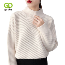 GOPLUS Turtleneck Womens Sweater Oversized Sweaters Knitwear Patchwork Striped Knitted Pullover Swetry Damskie Pull Femme C8114