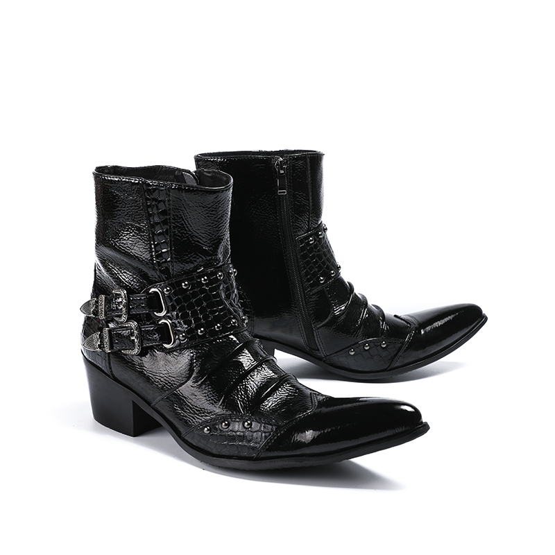 New Mens Pointed Toe Zip Fashion Buckle Ankle Boots Genuine Leather High Top High Heel Office Work Boots Wedding Dress Shoes