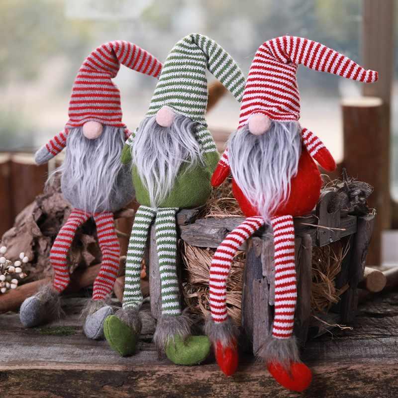 Navidad Swedish Santa Gnome peluche abrazo elfo sueco muñeca cumpleaños regalo Mesa blanco gris adornos navideños para el hogar