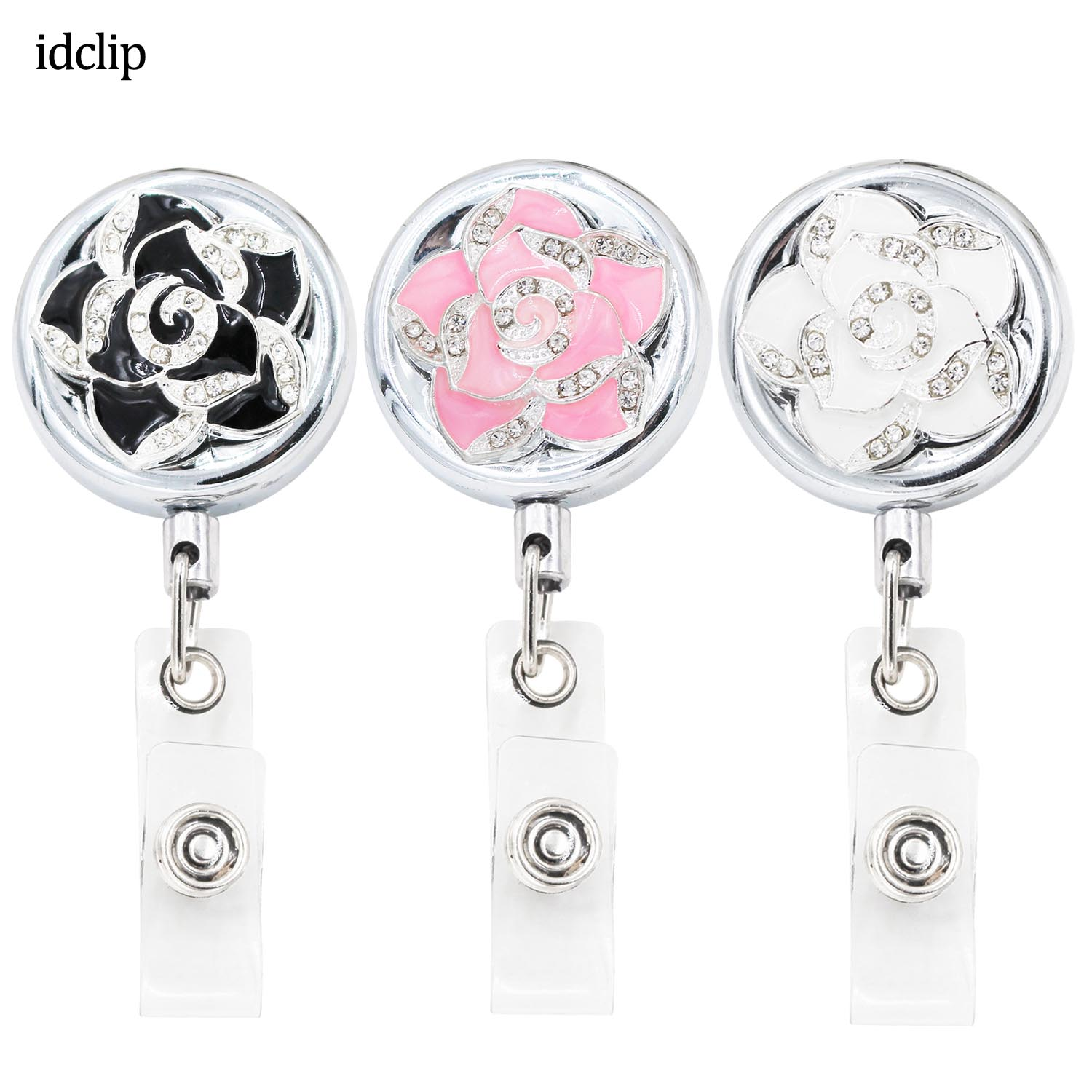 idclip 3 2cm Camellia Flower ID Retractable Badge Holder Belt Clips Metal Badge Reel Heavy Duty Steel Wire Cord in Badge Holder Accessories from Office School Supplies