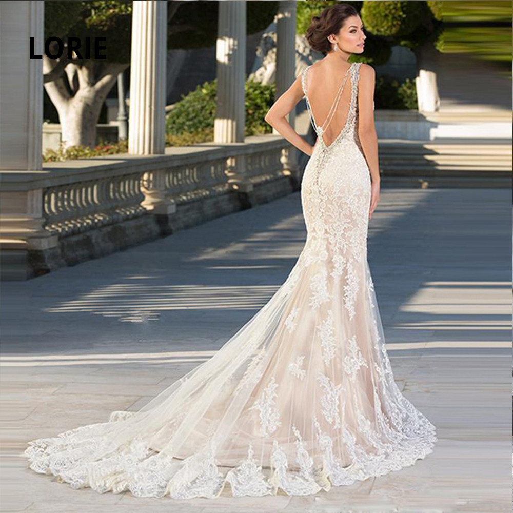 LORIE 2020 Champagne Mermaid Wedding Dresses Lace Appliqued Beading Beach Bridal Gowns Sleeveless Dresses With Court Train