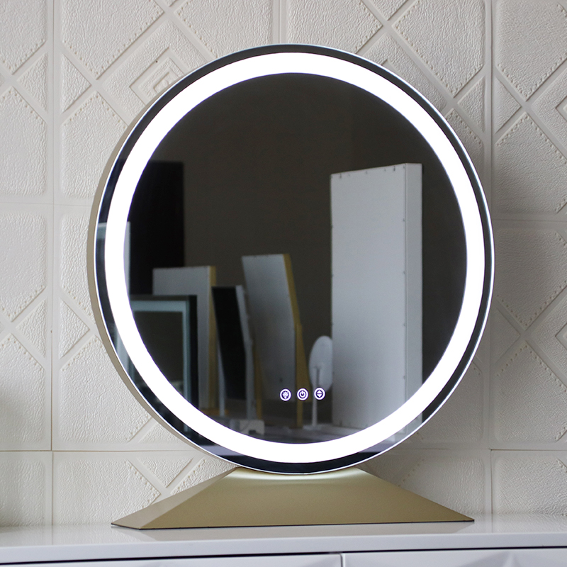 Image 5 - Large Illuminated Desktop Makeup Mirror Nordic Style Touch Adjust Brightness Color Temperature LED Backlit Cosmetic MirrorsMakeup Mirrors   -