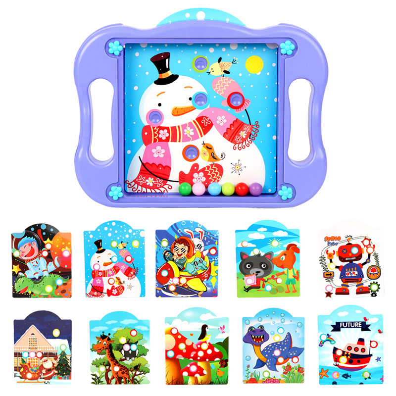 Ball Balance Puzzle Game Labyrinth Board Toys Puzzle Ball Brain Teasers with 10 Game Scenes Cards NSV775