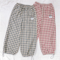 Japanese Plaid pants Puppy Embroidery Loose Teen Girls Student Wide leg Pants Small fresh Teenage heart Casual Pants Mori Girl