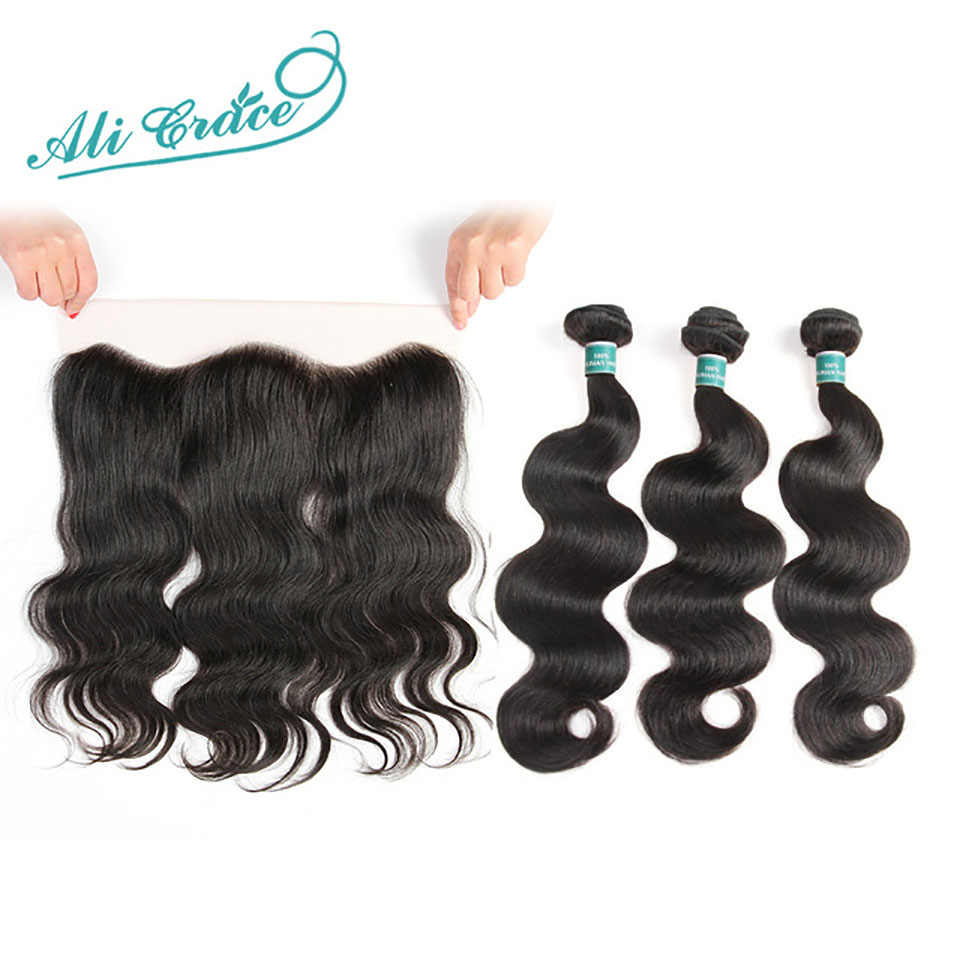 Ali Grace Hair Brazilian Body Wave Bundles With Closure 3 Bundles Human Hair Body Wave With Frontal 13x4 Free Part Remy Hair