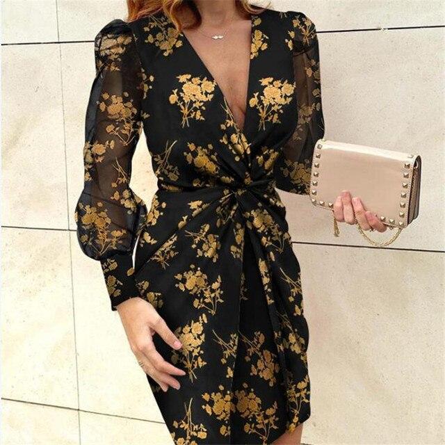 Mesh Sleeve Fashion V-Neck Pleated Elegant dress 3
