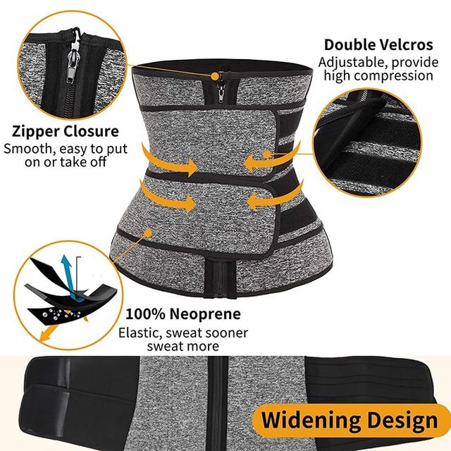 Abdominal Belt High Compression Zipper Neoprene Waist Trainer Cincher Corset Body Shaper Fajas Sweat Slimming Shapewear 3