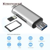 Kebidu-lector de tarjetas USB 2,0 tipo C a SD, adaptador Micro SD TF para ordenador portátil, accesorios, lector de tarjetas OTG, tarjetas de memoria inteligentes