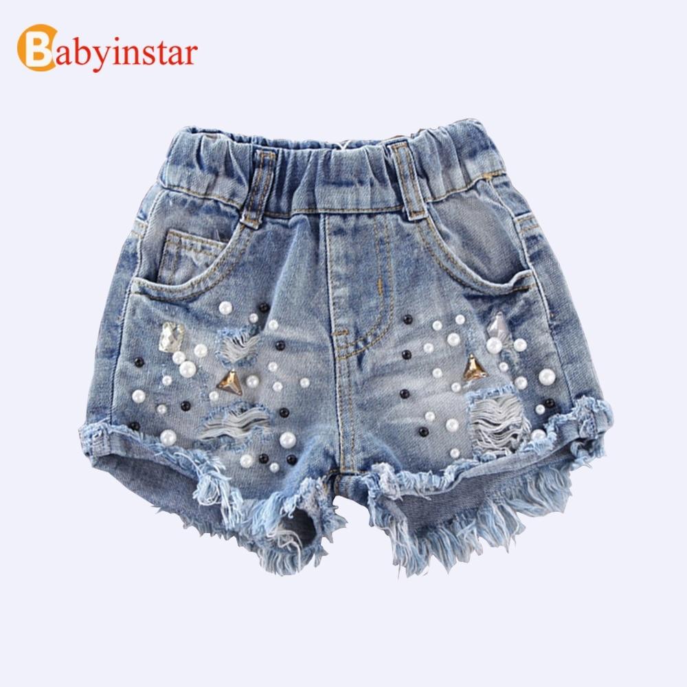 Babyinstar Girls Denim Shorts 2020 Girls Summer Shorts Jeans Children Kids Cowboy Shorts Pearl Hole Clothes Girls Jeans Shorts 1