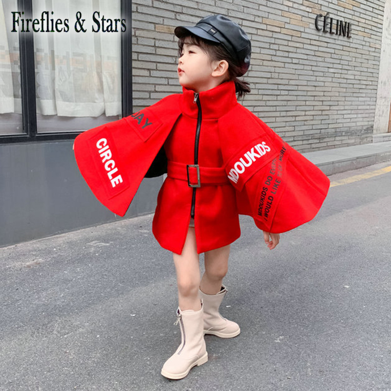 Winter Autumn Girls Cape Coat Baby Cloak Children Outwear Kids Streetwear Coat Mantle Red Gunny Letter Waistband 4 To 12 Yrs