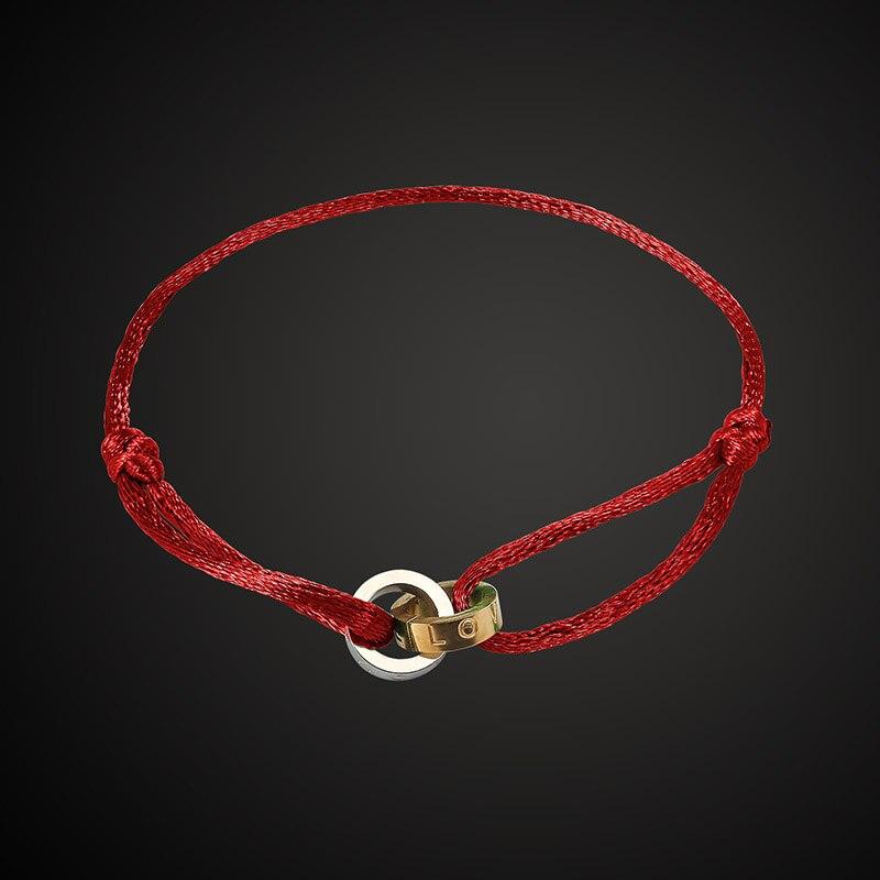 Lanruisha brand stainless steel bracelet 2 round cotton rope retractable lovely fashion jewelry popular unisex best gift