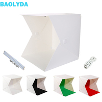 Baolyda New 40* 40cm 2 LED Photo Box Studio Photography Portable Folding Lightbox with 4 Color Photo Backdrops Studio Softbox