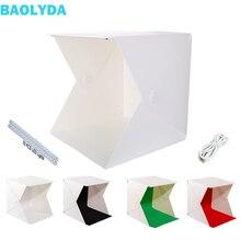Baolyda Nieuwe 40*40 cm 2 LED Foto Doos Studio Fotografie Draagbare Vouwen Lightbox met 4 Kleur Foto Achtergronden studio Softbox
