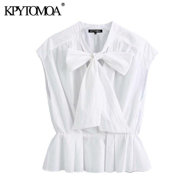 KPYTOMOA Women 2020 Elegant Fashion Office Wear Ruffled White Blouses Vintage Bow Tied Collar Sleeveless Female Shirts Chic Tops
