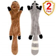 Get more info on the 2Pack Squeaky Dog Toys Set with Squirrel and Raccoon No Stuffing Plush Chew Toys for Medium and Large Dogs