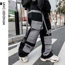 цена на UNCLEDONJM Colour Block Cargo Pants Men Streetwear Hip hop Loose fit Trousers Casual Pants Harajuku Man Fashion V2-1997