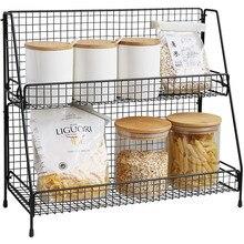 Железный стеллаж для хранения для Кухня стеллаж для хранения Органайзер для ванной комнаты с двойным Слои сборки косметический ванная полка-корзина для хранения