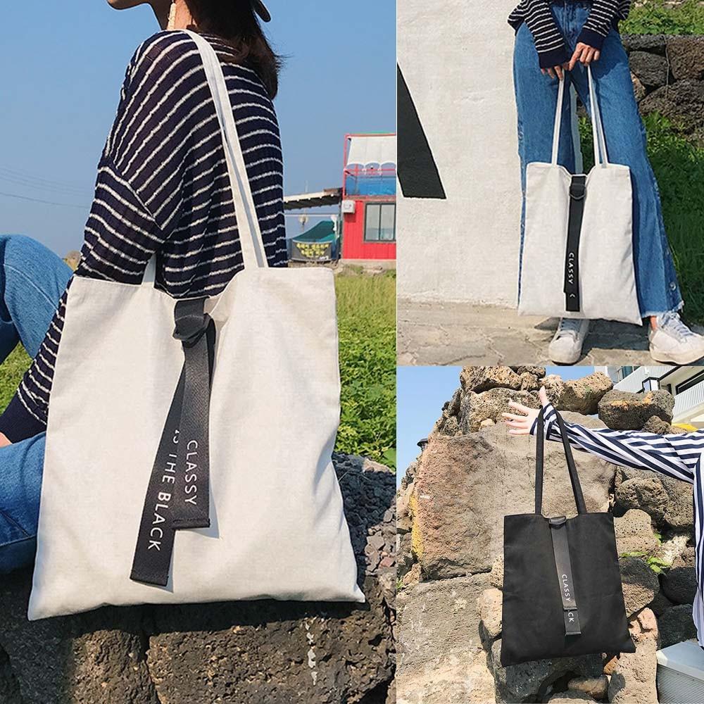 Shopping Bag Casual Eco Canvas Handbag Purse Pouch Shoulder Reusable Shopper Bag Fashion Cloth Foldable Bags Bolsa De Tela #57