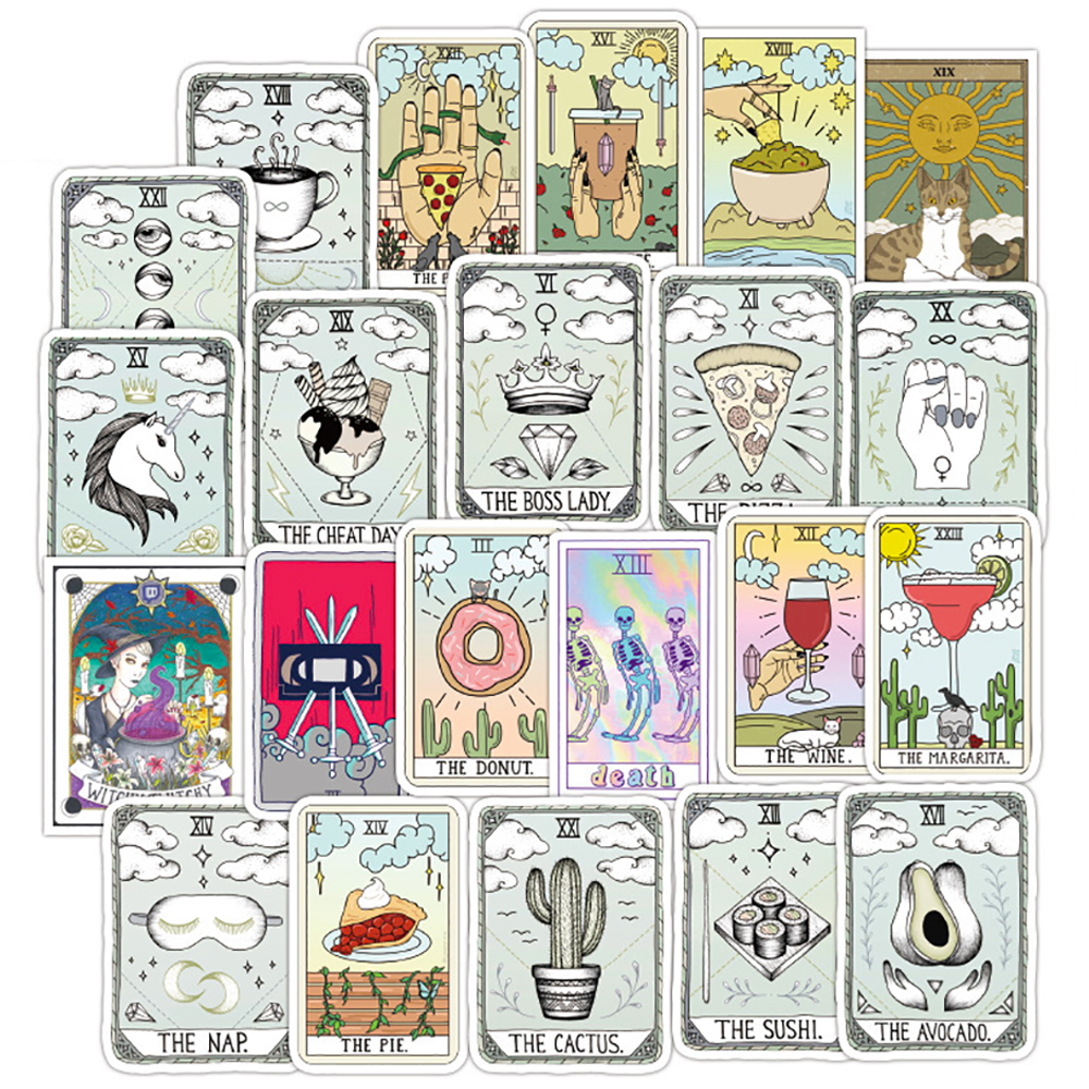 50PCS Mixed Tarot Card Divination Stickers Travel Skateboard Suitcase Guitar Luggage Laptop Phone Waterproof Cool Stickers