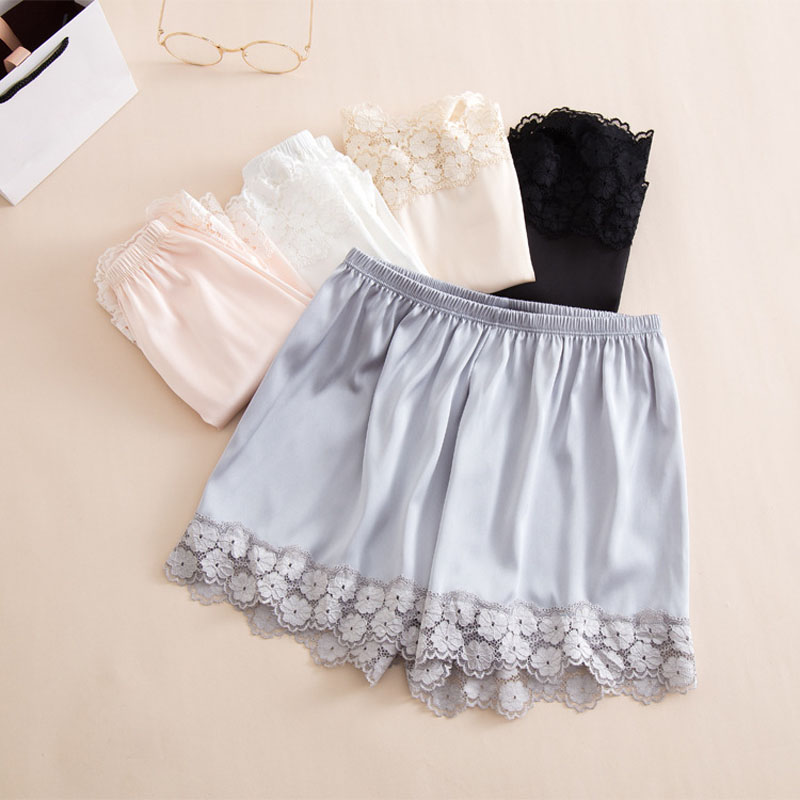 New Women's Casual Shorts Summer Short Femme Sexy Lace Solid Color Imitation Silk Female Elastic Girls Shorts Women Panties 1