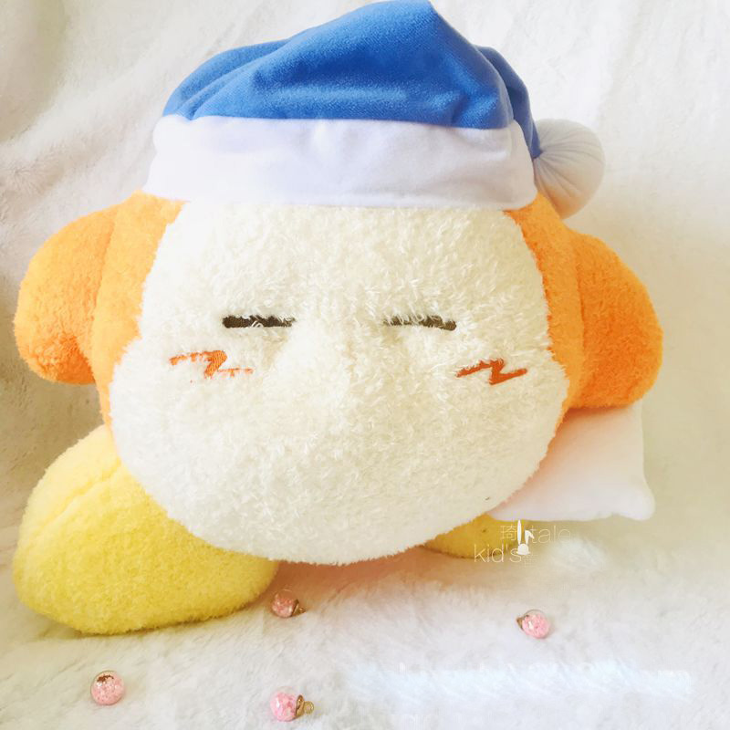32 Cm Genuine Kirby Figure Plush Toy Star Kirby Monkey Waddle Dee Sleep Cap Series Figure Soft Plush Doll Toys Leather Bag