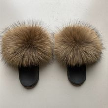 real raccoon Fur Sliders Hot Women Home Fluffy Sliders Comfort With Feathers Furry Summer Flats Sweet Ladies Home Shoes