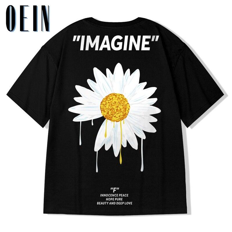 Männer Hip Hop T Shirt Streetwear 2021 Daisy Blume T-Shirts Sommer Harajuku T-shirt Baumwolle Kurzarm Schwarz Übergroßen Tops T
