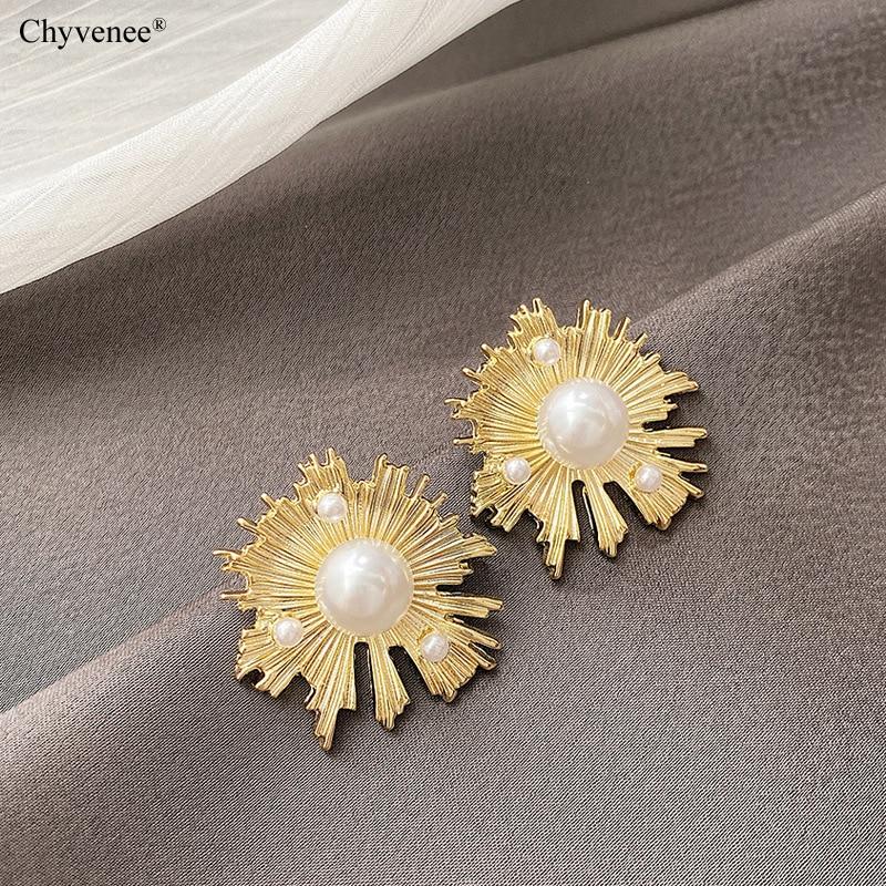 Купить женские серьги гвоздики с золотым жемчугом chyvenee винтажные