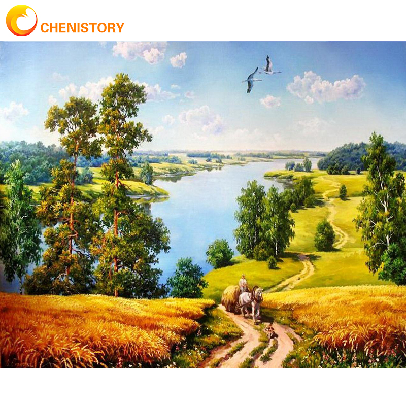 CHENISTORY Frame Reward Diy Painting By Numbers Landscape Wall Art Picture By Numbers Acrylic Canvas By Numbers For Home Decors