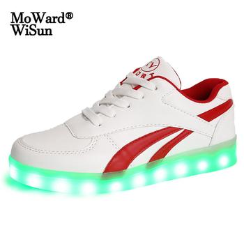 Rozmiar 35-44 świecące buty LED dla kobiet mężczyzn świecące trampki z zapalonymi podeszwami buty dla dorosłych ze światłami Led ładowane na USB tenis tanie i dobre opinie moward wisun 7-12y 12 + y CN (pochodzenie) Wiosna i jesień Unisex Dobrze pasuje do rozmiaru wybierz swój normalny rozmiar