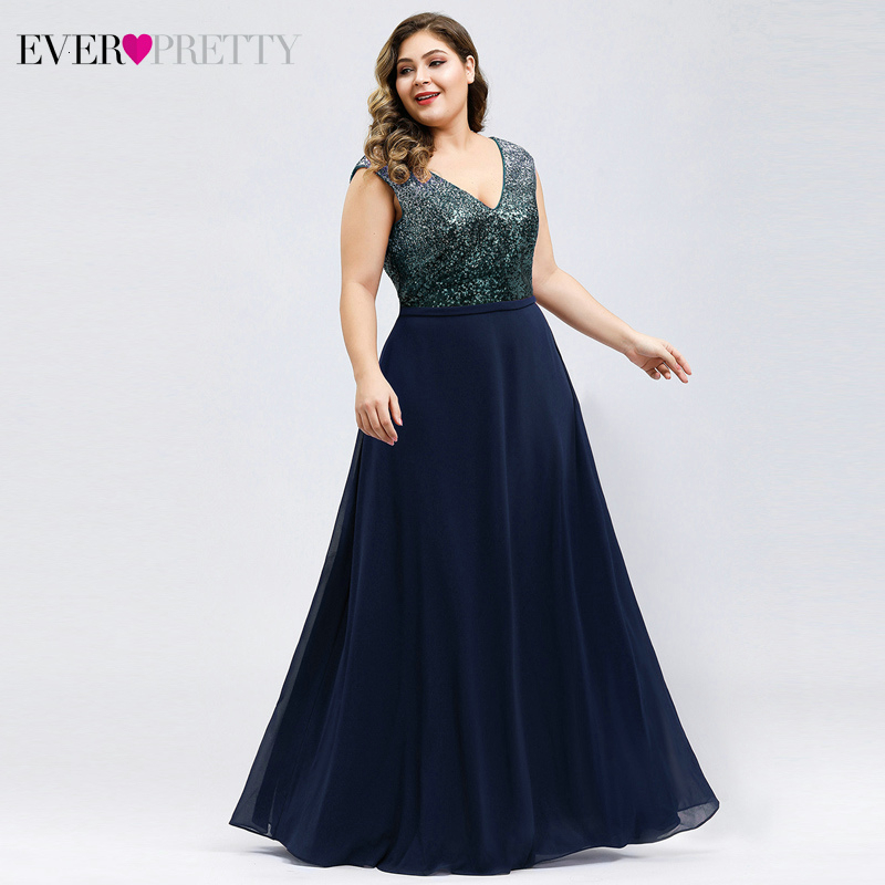 Plus Size Sparkle Prom Dresses Ever Pretty Sequined A-Line V-Neck Sleeveless Chiffon Elegant Party Gowns Vestidos De Gala 2020