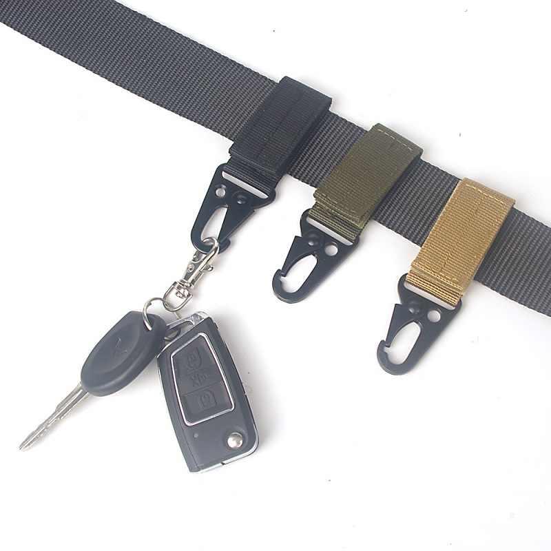 Cinturón de nailon con hebilla para colgar al aire libre, botella de agua, mosquetón, mochila, llavero, gancho, cinturón de cintura, escalada, accesorios de caza