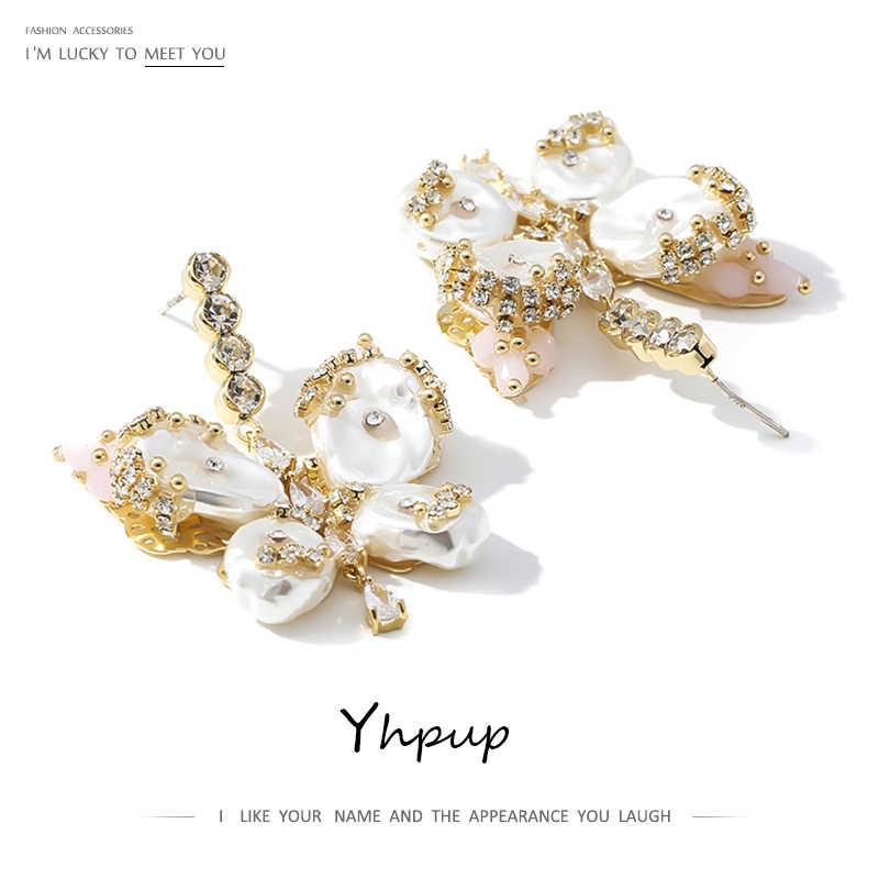 Yhpup concha pérolas borboleta balançar brincos strass cobre requintado brincos de declaração jóias feminino presente de casamento caixa gratuita