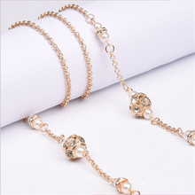 1pcs  Fashion women String Simulated-pearl Crystal Beads Sunglasses Lanyard Copper Strap Necklace Metal Eyeglass Chain