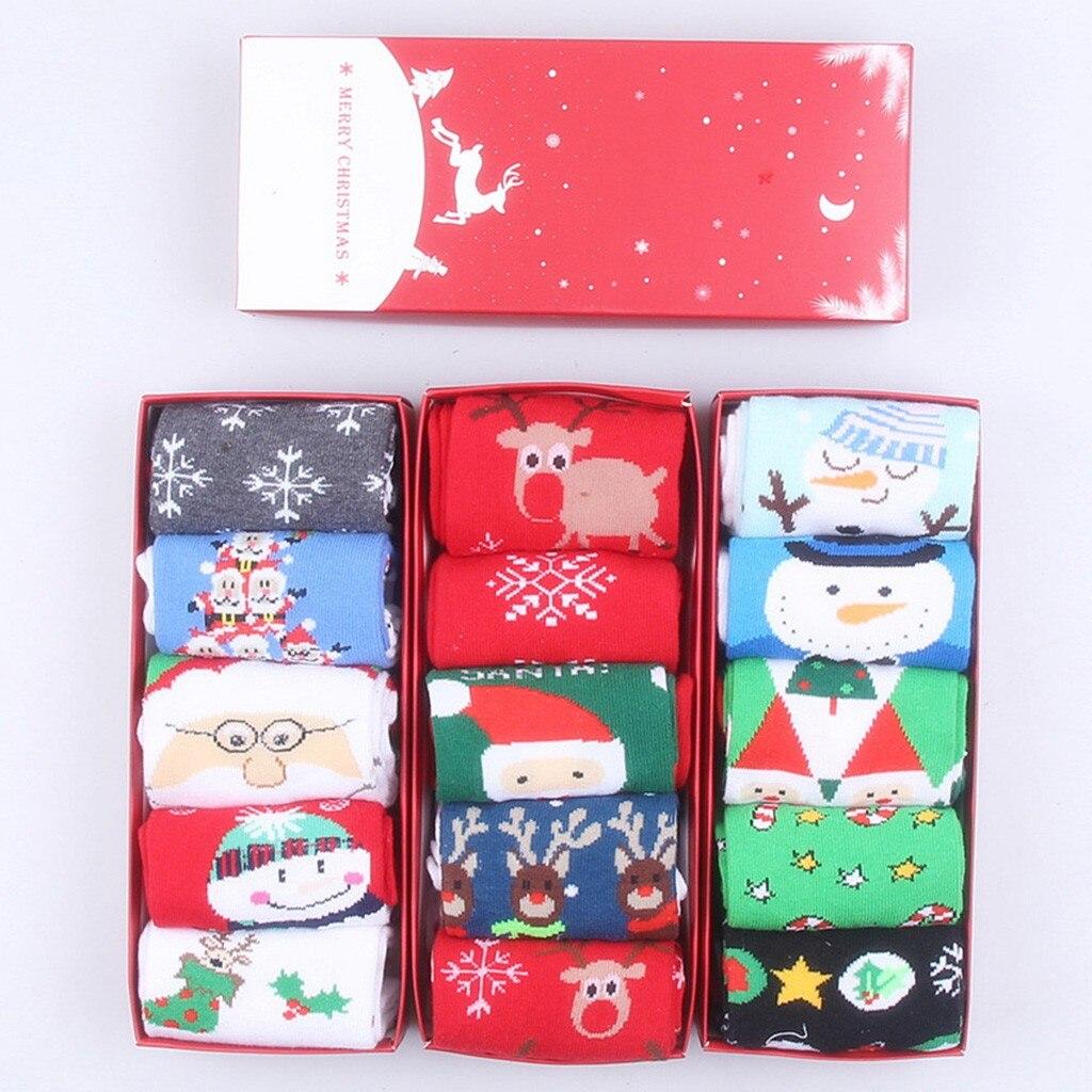 5Pairs Happy New Year Socks Christmas Santa Claus Moose Tree Pattern Winter Warm Style Socks Short Funny Cotton Women Men Unisex